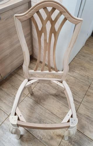 Sandblasting of a wooden chair. After