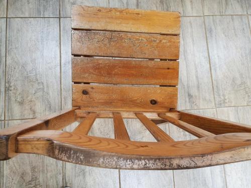 Sandblasting of wooden chairs.Before